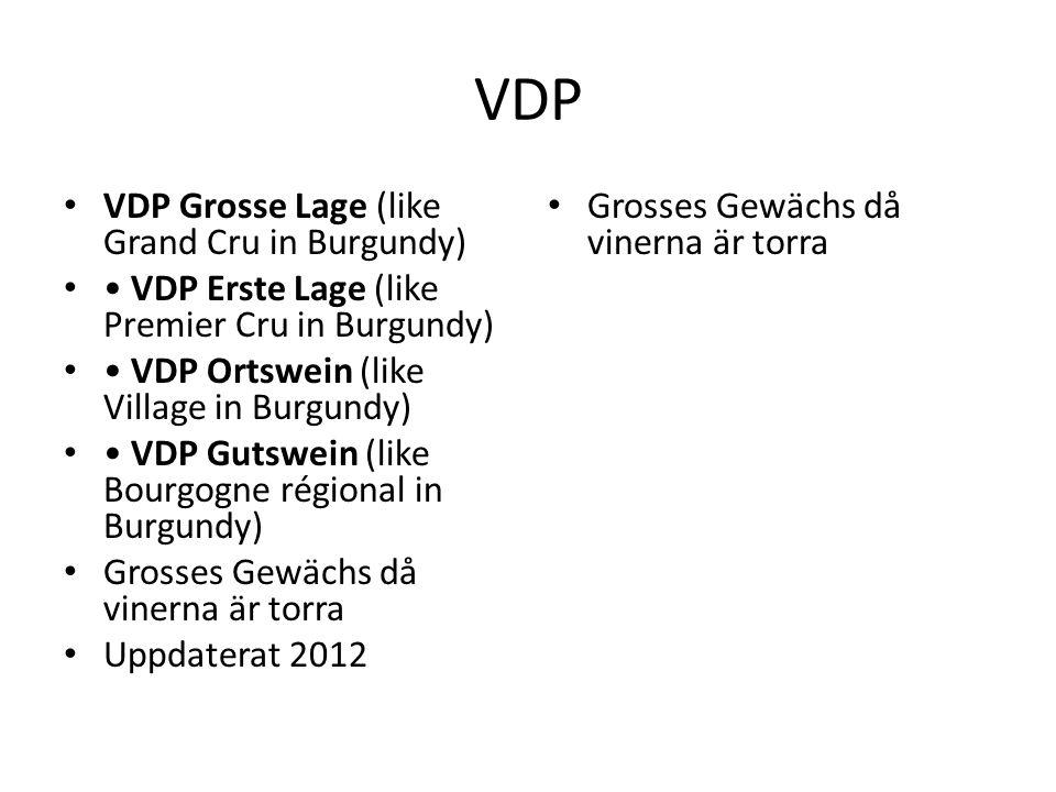 VDP VDP Grosse Lage (like Grand Cru in Burgundy) VDP Erste Lage (like Premier Cru in Burgundy) VDP Ortswein (like Village in Burgundy) VDP Gutswein (like Bourgogne régional in Burgundy) Grosses Gewächs då vinerna är torra Uppdaterat 2012 Grosses Gewächs då vinerna är torra