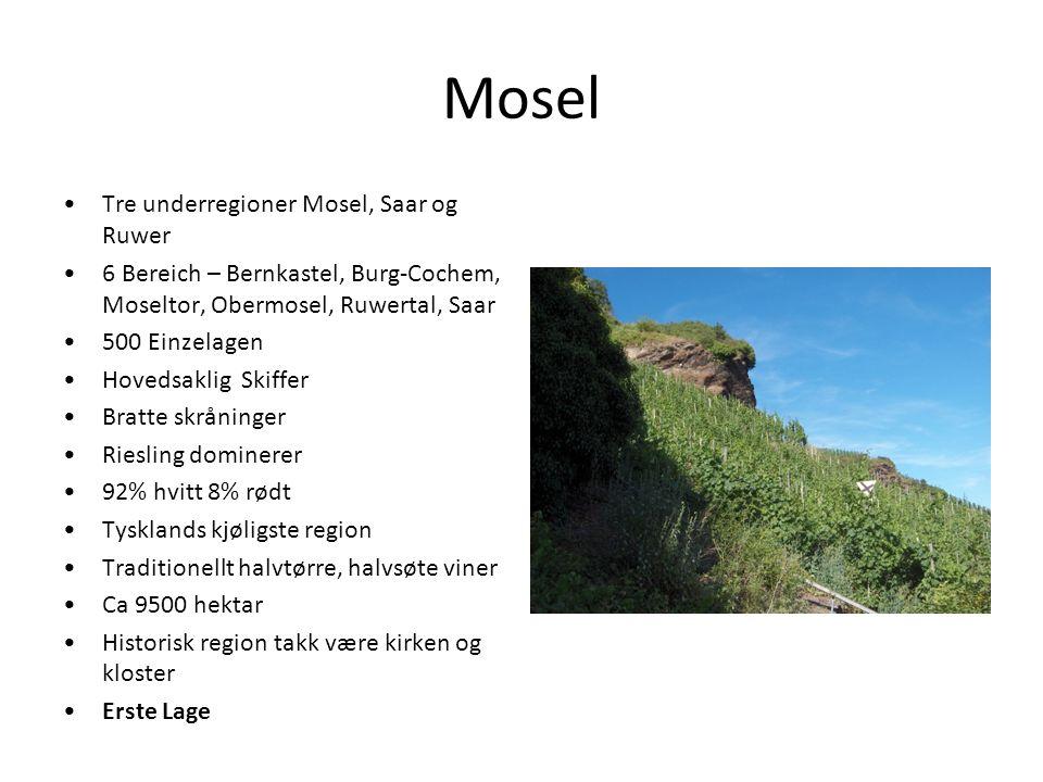 Mosel Tre underregioner Mosel, Saar og Ruwer 6 Bereich – Bernkastel, Burg-Cochem, Moseltor, Obermosel, Ruwertal, Saar 500 Einzelagen Hovedsaklig Skiff