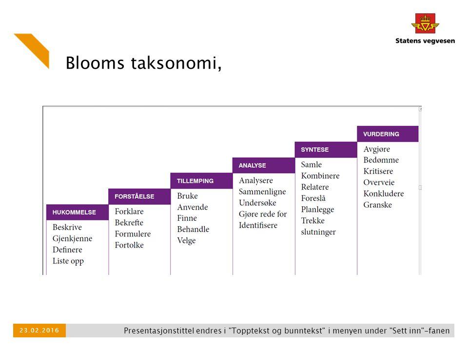 Blooms taksonomi, Presentasjonstittel endres i