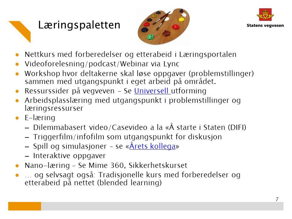 Læringspaletten ● Nettkurs med forberedelser og etterabeid i Læringsportalen ● Videoforelesning/podcast/Webinar via Lync ● Workshop hvor deltakerne sk