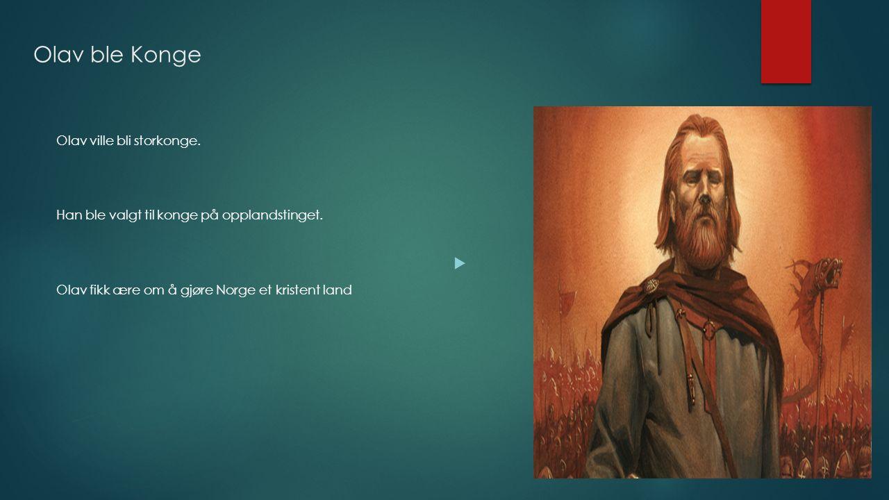Olav ble Konge Olav ville bli storkonge. Han ble valgt til konge på opplandstinget. Olav fikk ære om å gjøre Norge et kristent land