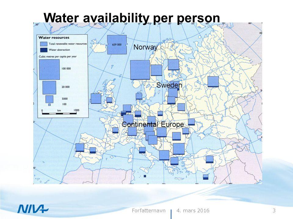 4. mars 20163Forfatternavn Tilgjengelig vannmengde pr.person Water availability per person Norway Sweden Continental Europe