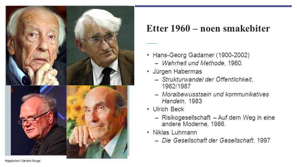 Høgskolen i Sørøst-Norge Etter 1960 – noen smakebiter Hans-Georg Gadamer (1900-2002) –Wahrheit und Methode, 1960.