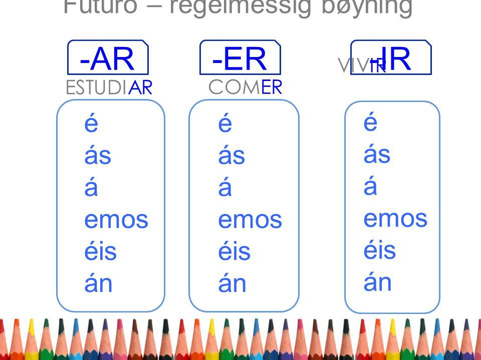 é ás á emos éis án -ER-AR-IR ESTUDIAR VIVIR COMER é ás á emos éis án é ás á emos éis án Futuro – regelmessig bøyning