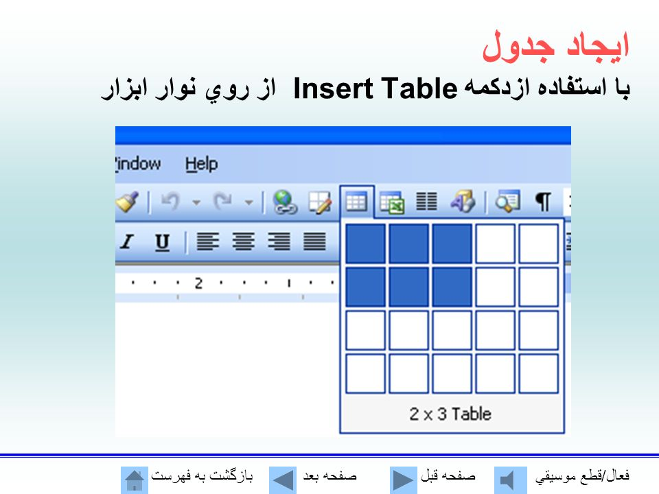 پنجره ايجاد جدول Number of columns:تعداد ستون Number of rows:تعداد سطر