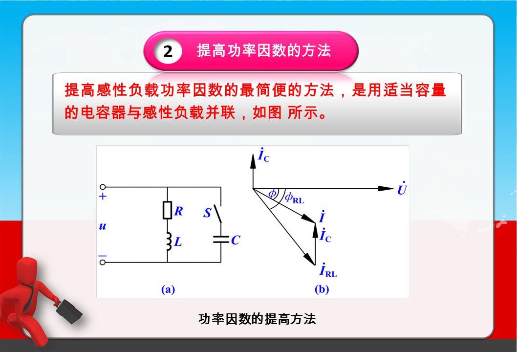 功率因数的提高方法 提高功率因数的方法 提高感性负载功率因数的最简便的方法,是用适当容量 的电容器与感性负载并联,如图 所示。