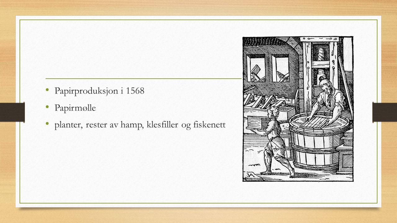 Papirproduksjon i 1568 Papirmølle planter, rester av hamp, klesfiller og fiskenett