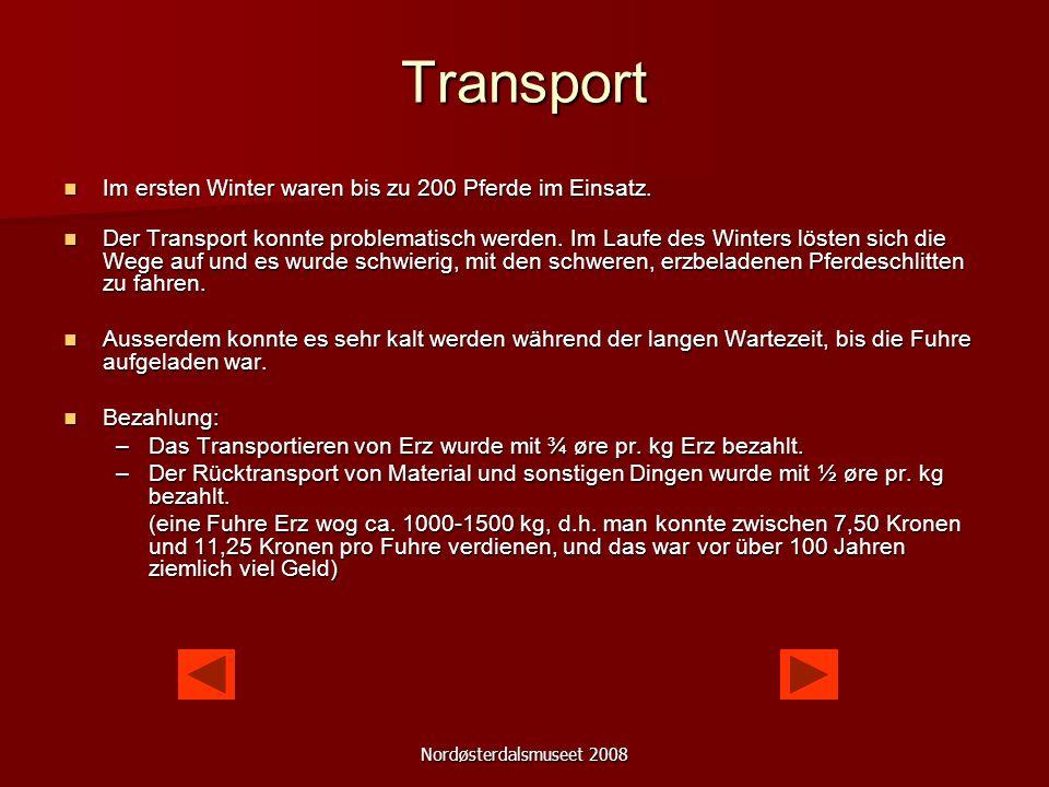 Nordøsterdalsmuseet 2008 Transport Am Anfang fuhr man das Erz mit Pferdeschlitten.