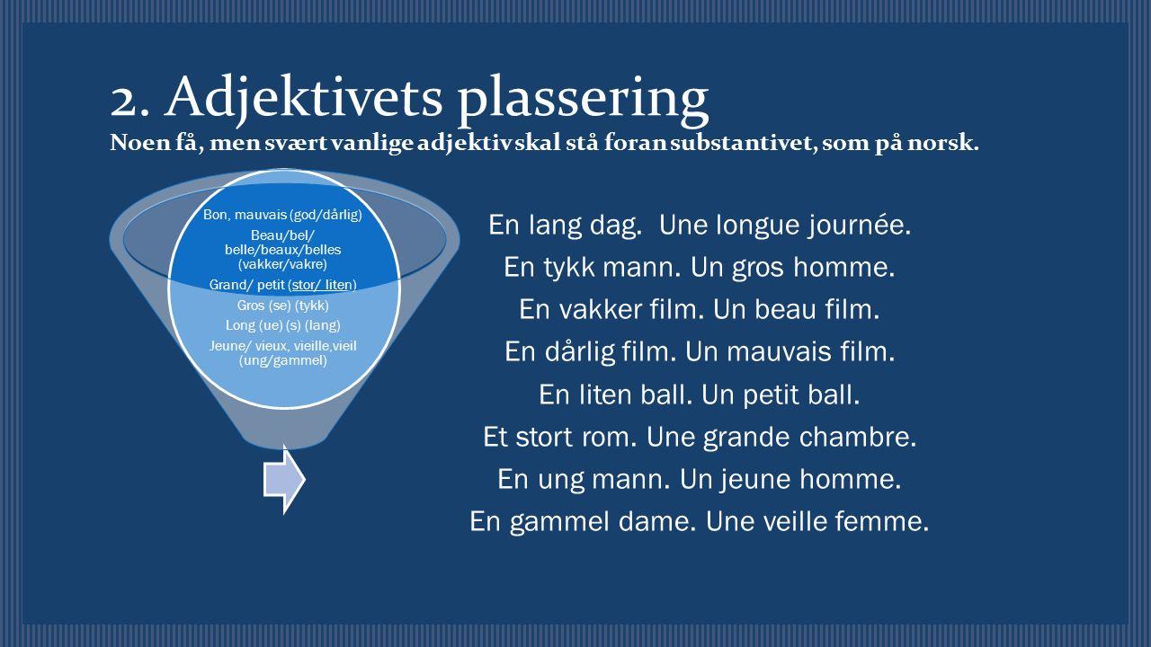 2. Adjektivets plassering Noen få, men svært vanlige adjektiv skal stå foran substantivet, som på norsk. En lang dag. Une longue journée. En tykk mann