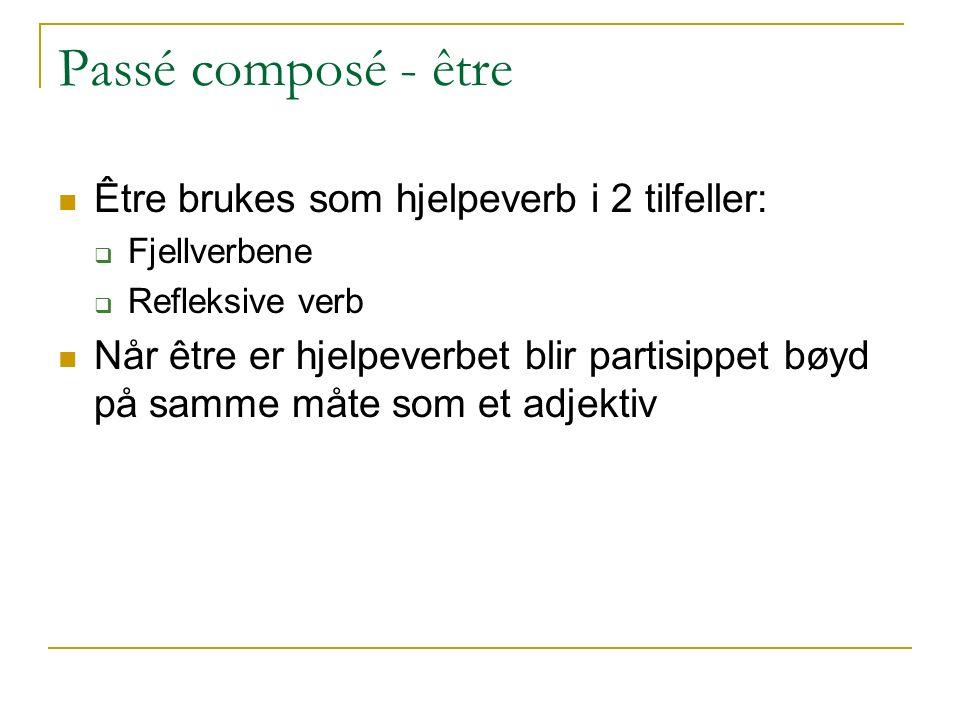 Passé composé - être Être brukes som hjelpeverb i 2 tilfeller:  Fjellverbene  Refleksive verb Når être er hjelpeverbet blir partisippet bøyd på samm