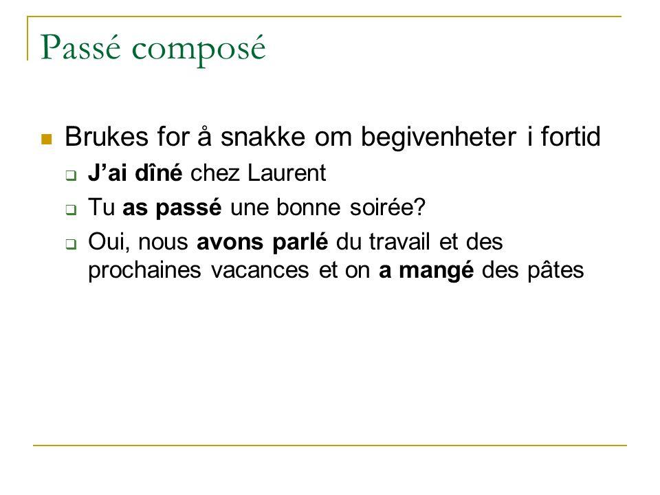 Passé composé Brukes for å snakke om begivenheter i fortid  J'ai dîné chez Laurent  Tu as passé une bonne soirée.
