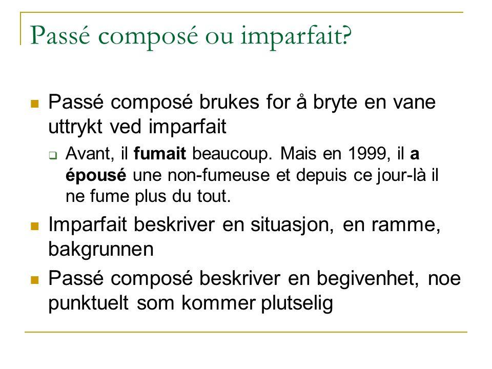 Passé composé ou imparfait? Passé composé brukes for å bryte en vane uttrykt ved imparfait  Avant, il fumait beaucoup. Mais en 1999, il a épousé une