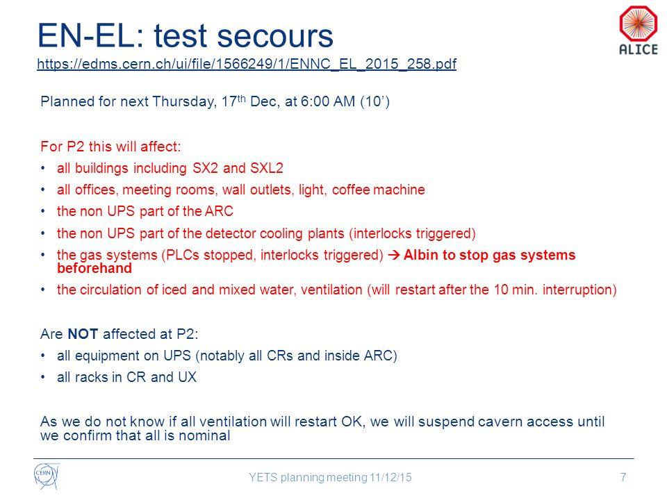 Detector activities YETS planning meeting 11/12/1518