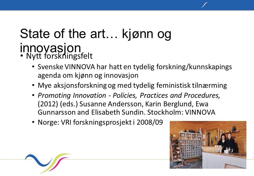 State of the art… kjønn og innovasjon Nytt forskningsfelt Svenske VINNOVA har hatt en tydelig forskning/kunnskapings agenda om kjønn og innovasjon Mye
