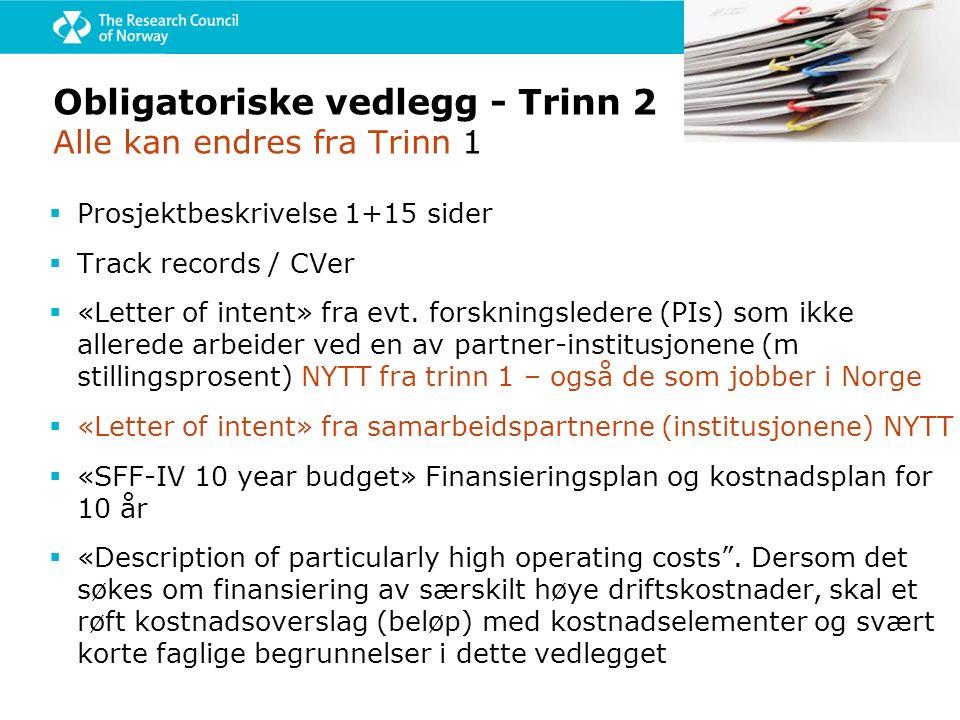 Obligatoriske vedlegg - Trinn 2 Alle kan endres fra Trinn 1  Prosjektbeskrivelse 1+15 sider  Track records / CVer  «Letter of intent» fra evt.