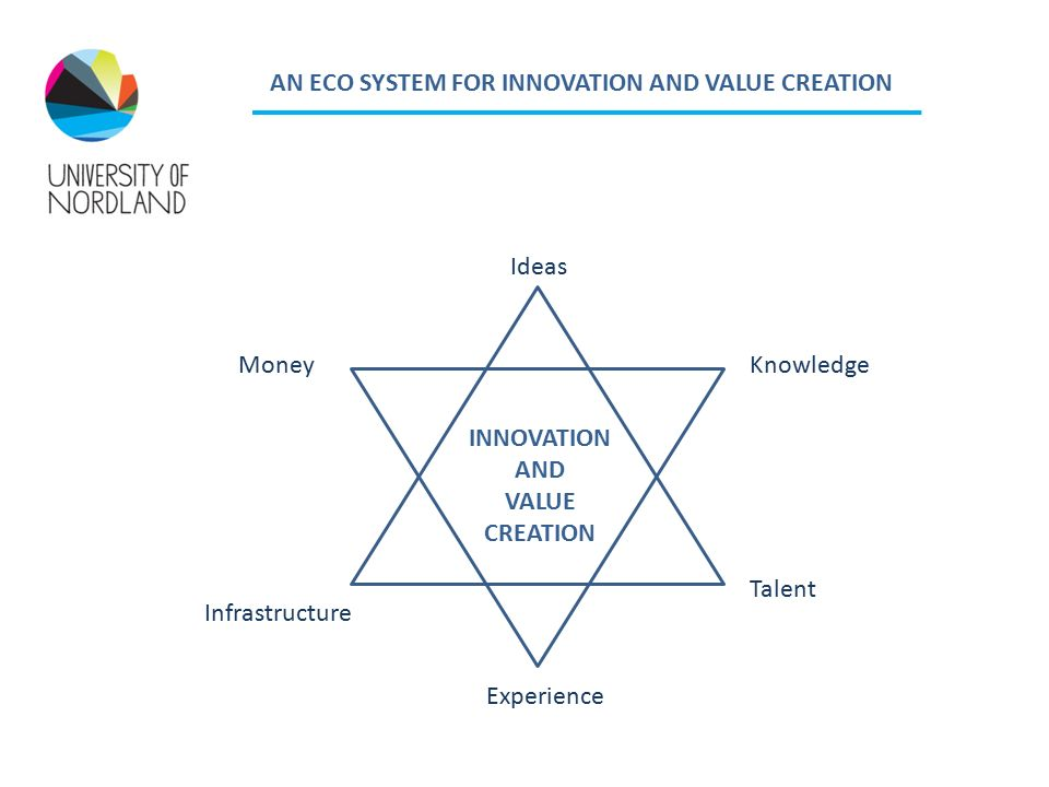 AN ECO SYSTEM FOR INNOVATION AND VALUE CREATION Ideas Talent Experience Infrastructure MoneyKnowledge INNOVATION AND VALUE CREATION
