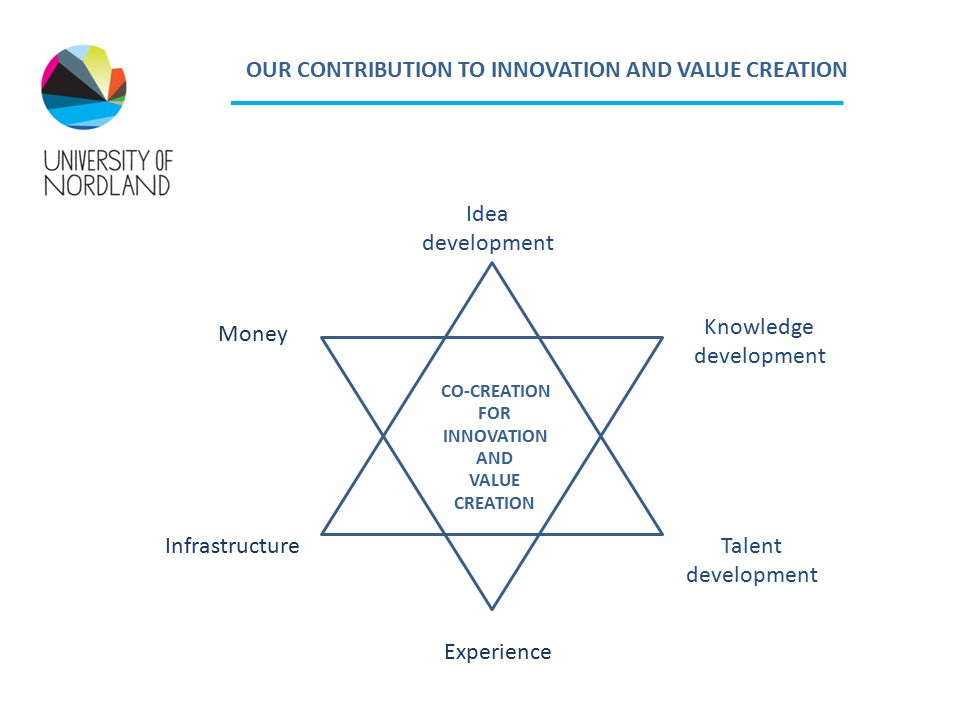 Idea development Talent development Experience Infrastructure Money Knowledge development CO-CREATION FOR INNOVATION AND VALUE CREATION OUR CONTRIBUTION TO INNOVATION AND VALUE CREATION