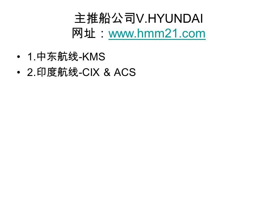 主推船公司 V.HYUNDAI 网址: www.hmm21.com www.hmm21.com 1. 中东航线 -KMS 2. 印度航线 -CIX & ACS