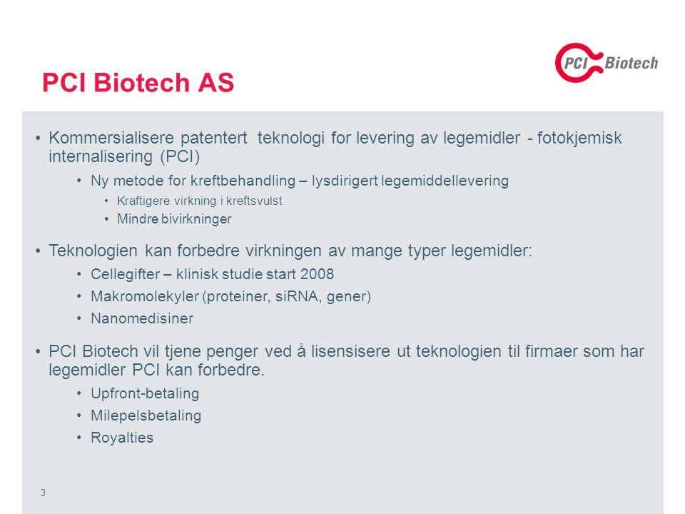 3 PCI Biotech AS Kommersialisere patentert teknologi for levering av legemidler - fotokjemisk internalisering (PCI) Ny metode for kreftbehandling – lysdirigert legemiddellevering Kraftigere virkning i kreftsvulst Mindre bivirkninger Teknologien kan forbedre virkningen av mange typer legemidler: Cellegifter – klinisk studie start 2008 Makromolekyler (proteiner, siRNA, gener) Nanomedisiner PCI Biotech vil tjene penger ved å lisensisere ut teknologien til firmaer som har legemidler PCI kan forbedre.