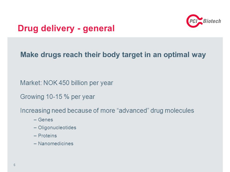 6 Drug delivery - general Make drugs reach their body target in an optimal way Market: NOK 450 billion per year Growing 10-15 % per year Increasing need because of more advanced drug molecules –Genes –Oligonucleotides –Proteins –Nanomedicines