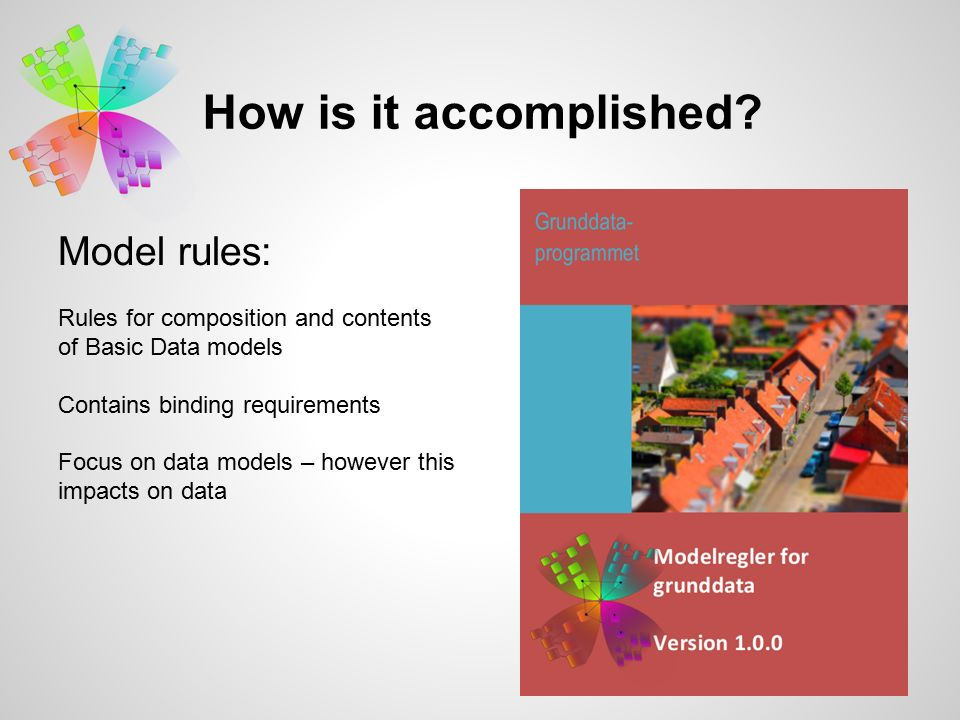 Model rules: Rules for composition and contents of Basic Data models Contains binding requirements Focus on data models – however this impacts on data