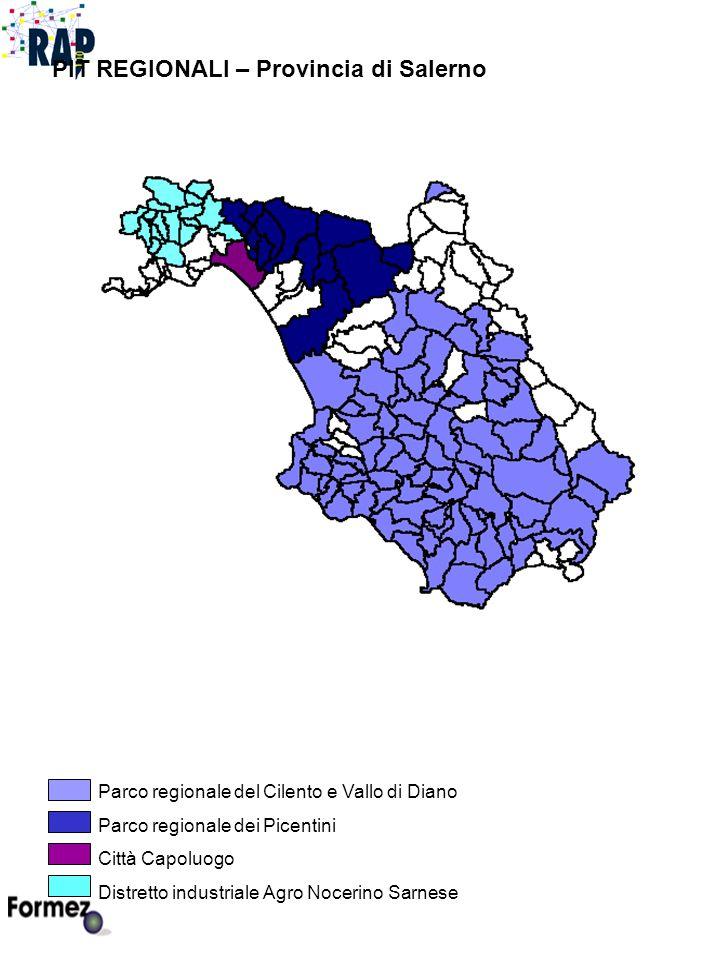 PIT REGIONALI – Provincia di Salerno Parco regionale del Cilento e Vallo di Diano Parco regionale dei Picentini Città Capoluogo Distretto industriale Agro Nocerino Sarnese