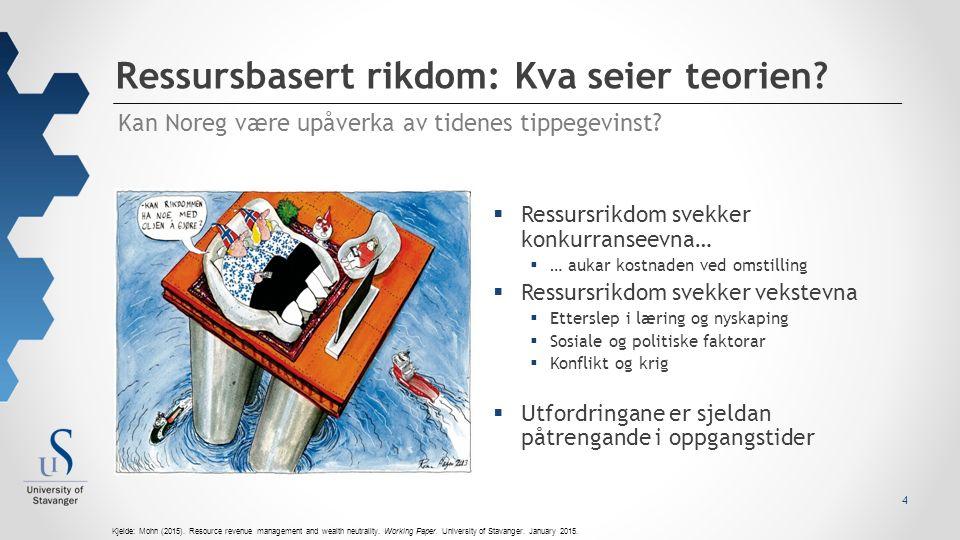Ressursbasert rikdom: Kva seier teorien. 4 Kan Noreg være upåverka av tidenes tippegevinst.