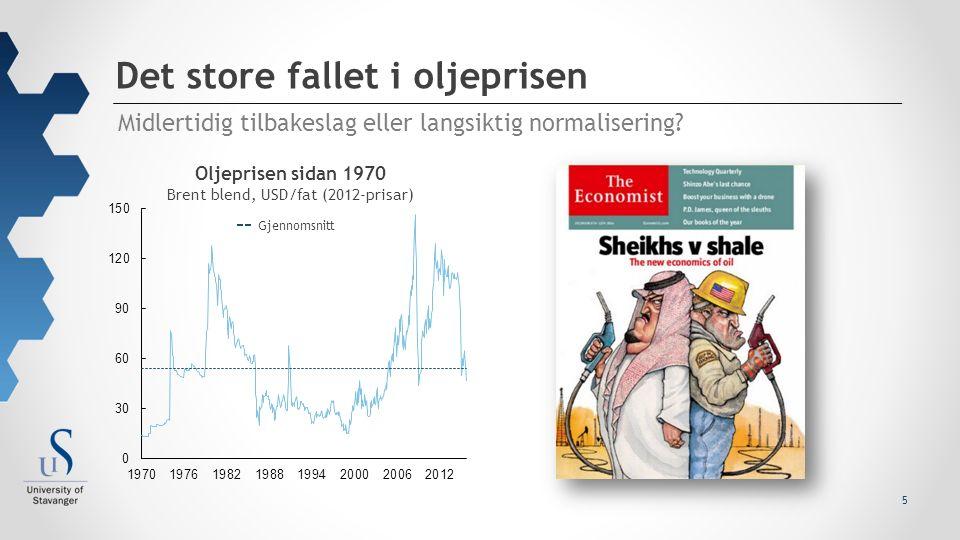 5 Midlertidig tilbakeslag eller langsiktig normalisering? Det store fallet i oljeprisen Oljeprisen sidan 1970 Brent blend, USD/fat (2012-prisar) Gjenn