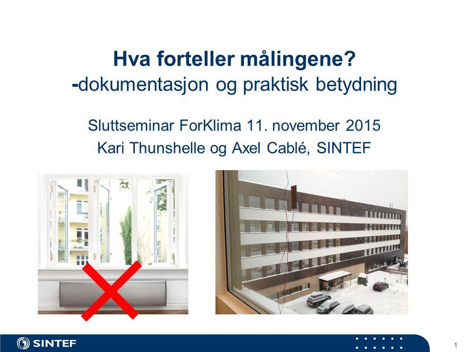 Hva forteller målingene? - dokumentasjon og praktisk betydning Sluttseminar ForKlima 11. november 2015 Kari Thunshelle og Axel Cablé, SINTEF 1