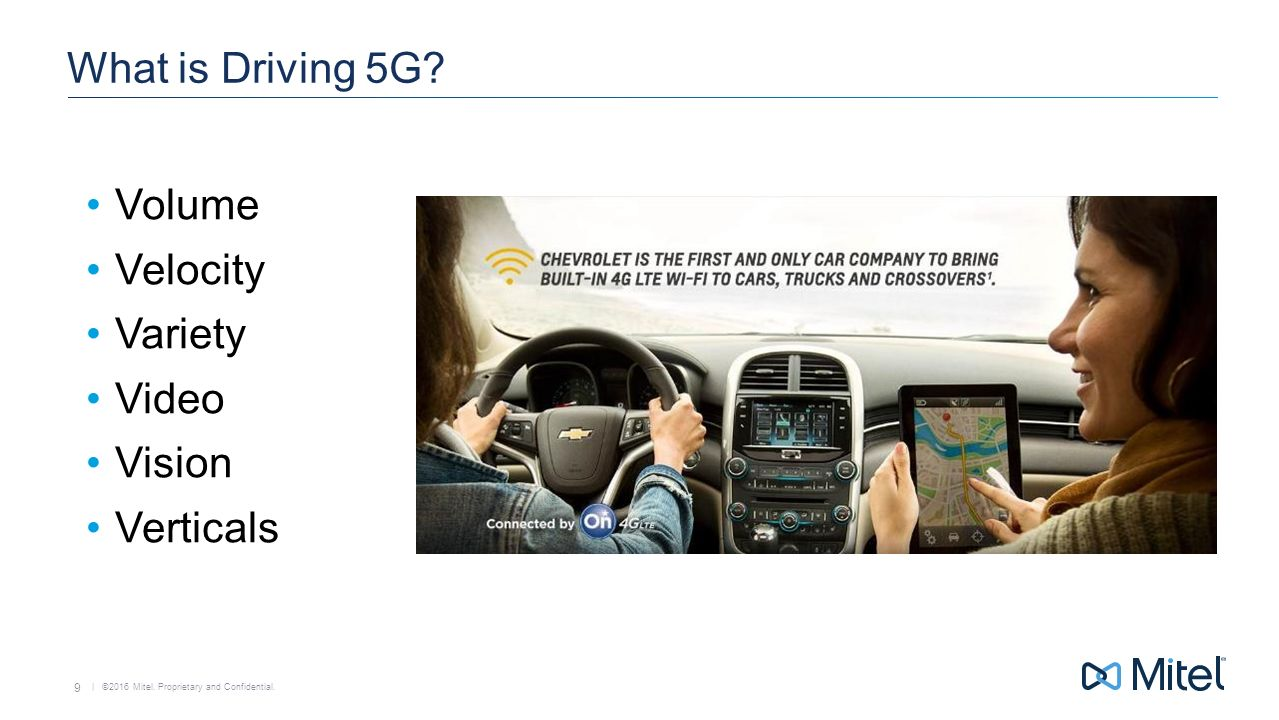 | ©2016 Mitel. Proprietary and Confidential. 9 What is Driving 5G.