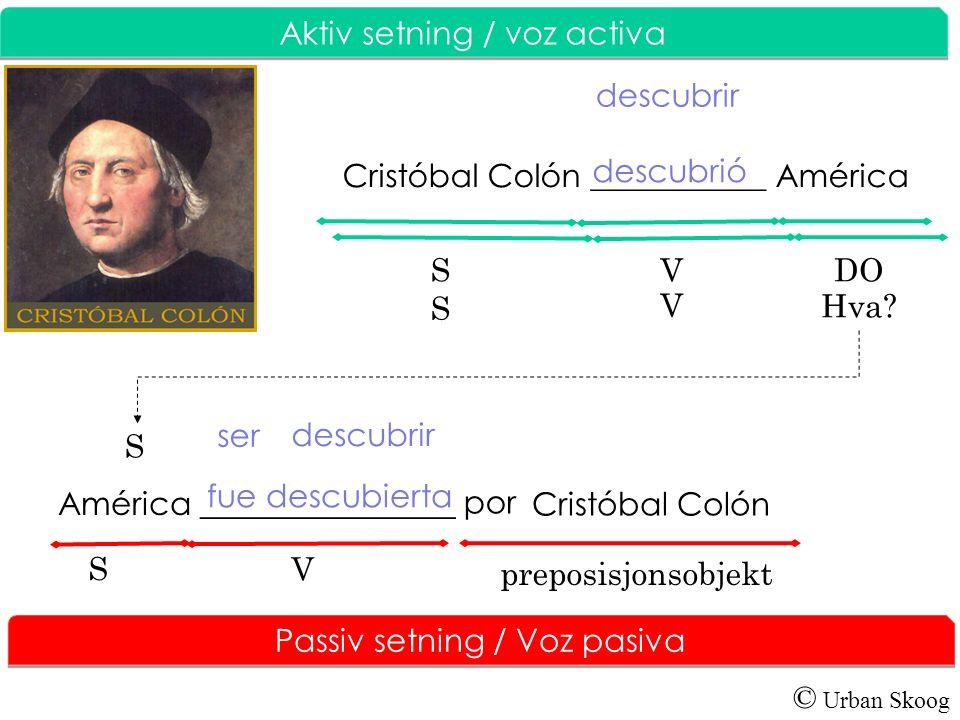 © Urban Skoog Aktiv setning / V oz activa Los Reyes Católicos ____________ el viaje de Cristóbal Colón.