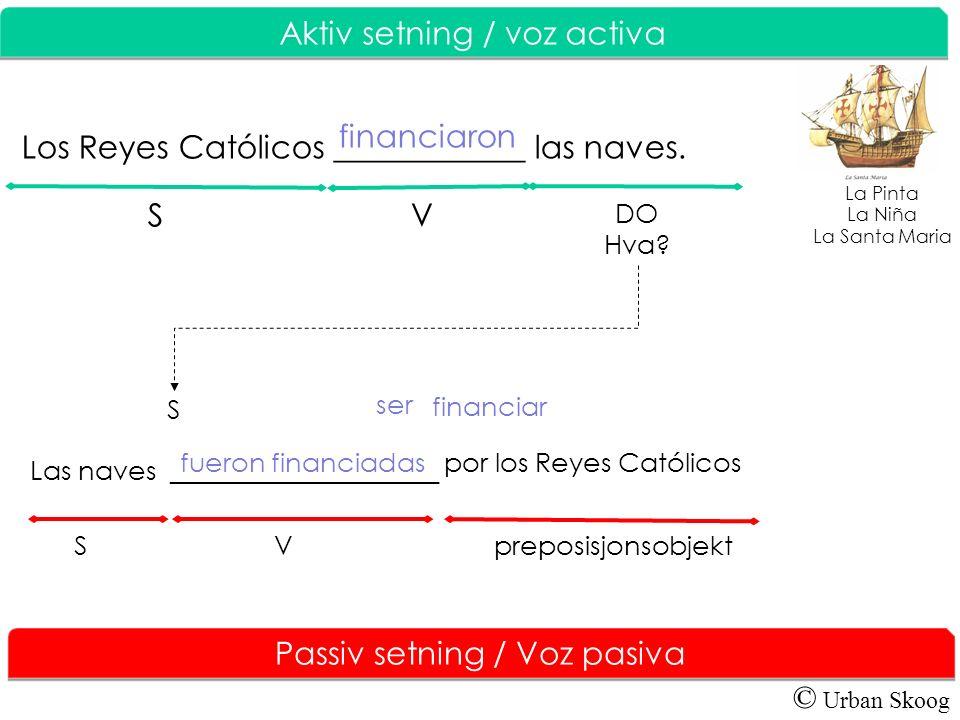 © Urban Skoog Aktiv setning / V oz activa Passiv setning / Voz pasiva Los Reyes Católicos ____________ las naves. financiaron DO Hva? S ser financiar