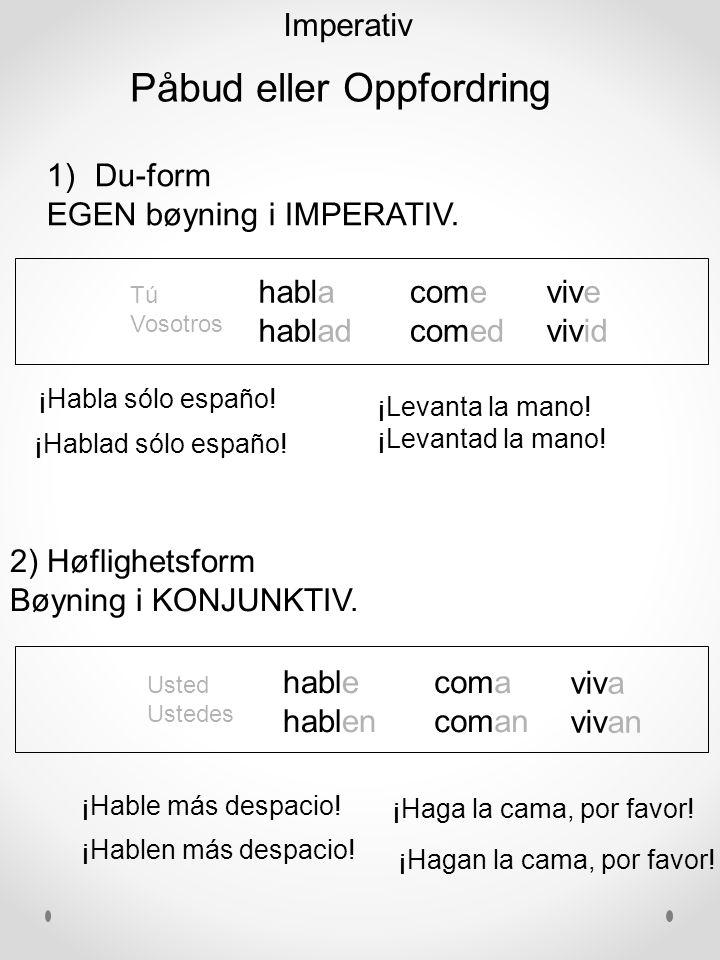 habla hablad come comed vive vivid ¡Hablad sólo españo.