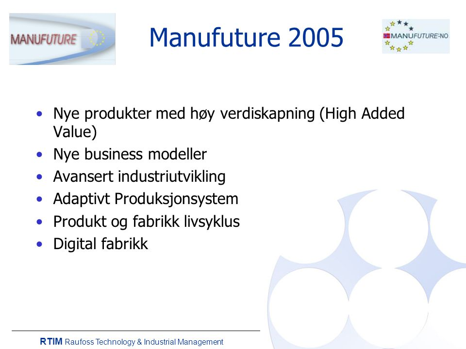 RTIM Raufoss Technology & Industrial Management Manufuture 2005 Nye produkter med høy verdiskapning (High Added Value) Nye business modeller Avansert