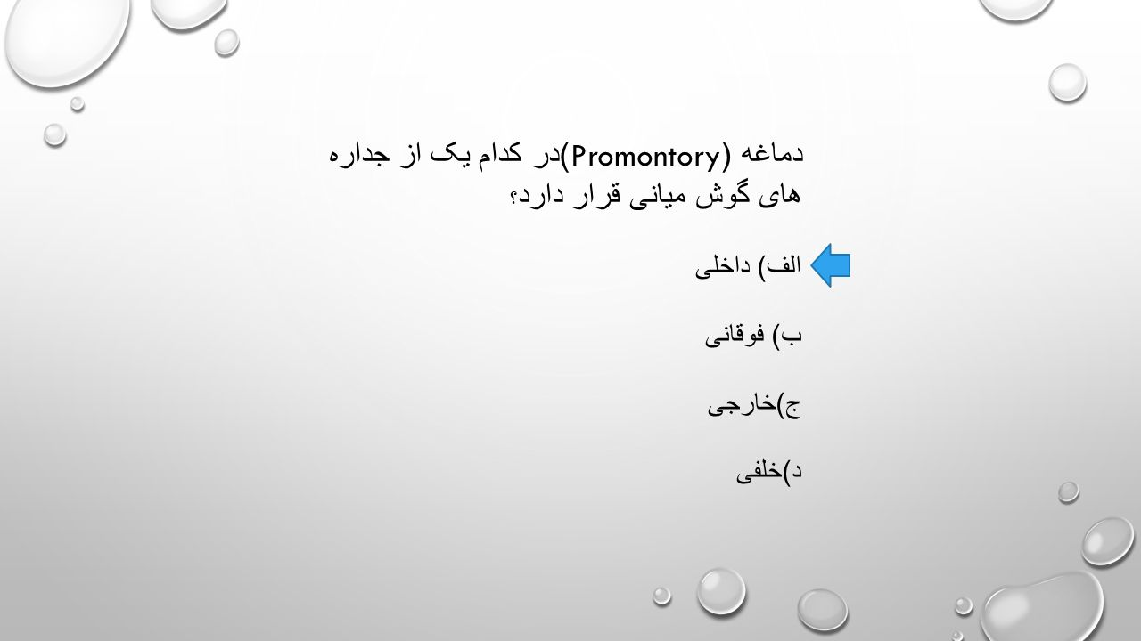 دماغه (Promontory) در کدام یک از جداره های گوش میانی قرار دارد ؟ الف ) داخلی ب ) فوقانی ج ) خارجی د ) خلفی