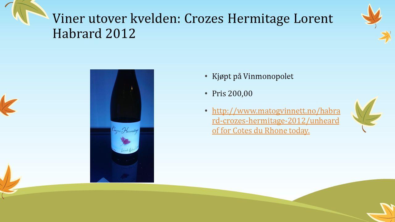 Kjøpt på Vinmonopolet Pris 200,00 http://www.matogvinnett.no/habra rd-crozes-hermitage-2012/unheard of for Cotes du Rhone today.