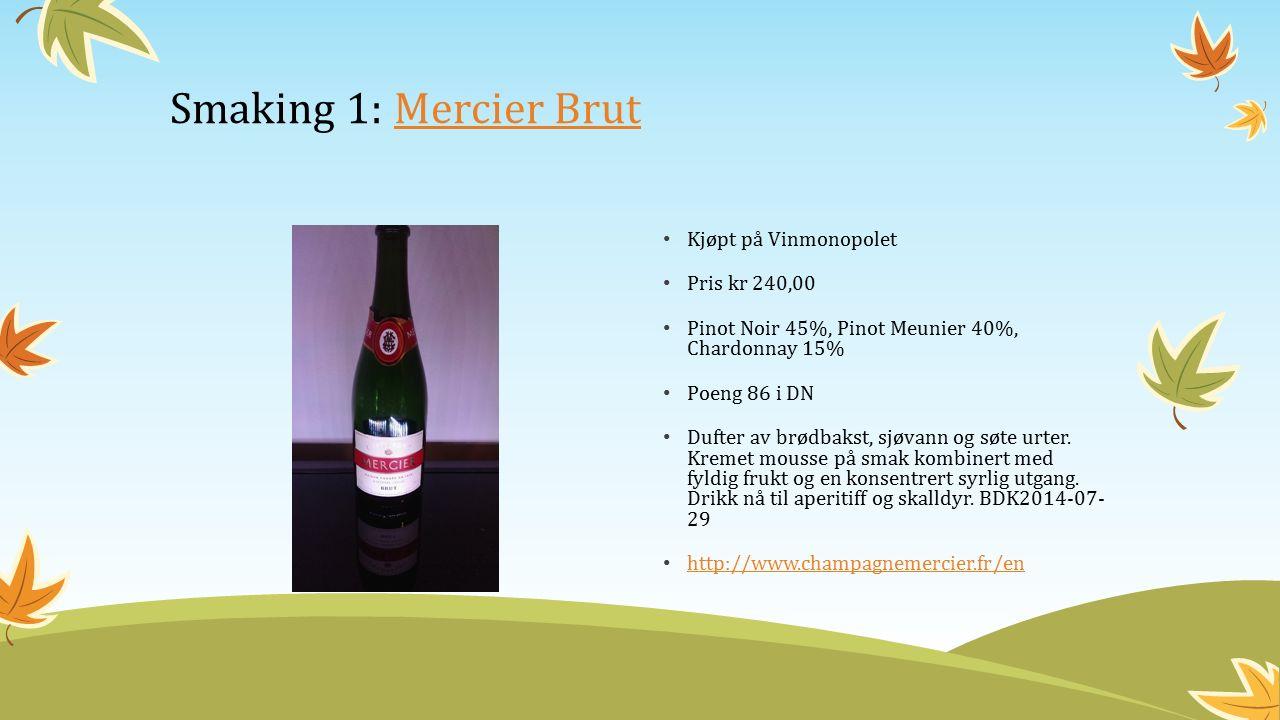 Kjøpt på Vinmonopolet Pris kr 240,00 Pinot Noir 45%, Pinot Meunier 40%, Chardonnay 15% Poeng 86 i DN Dufter av brødbakst, sjøvann og søte urter.