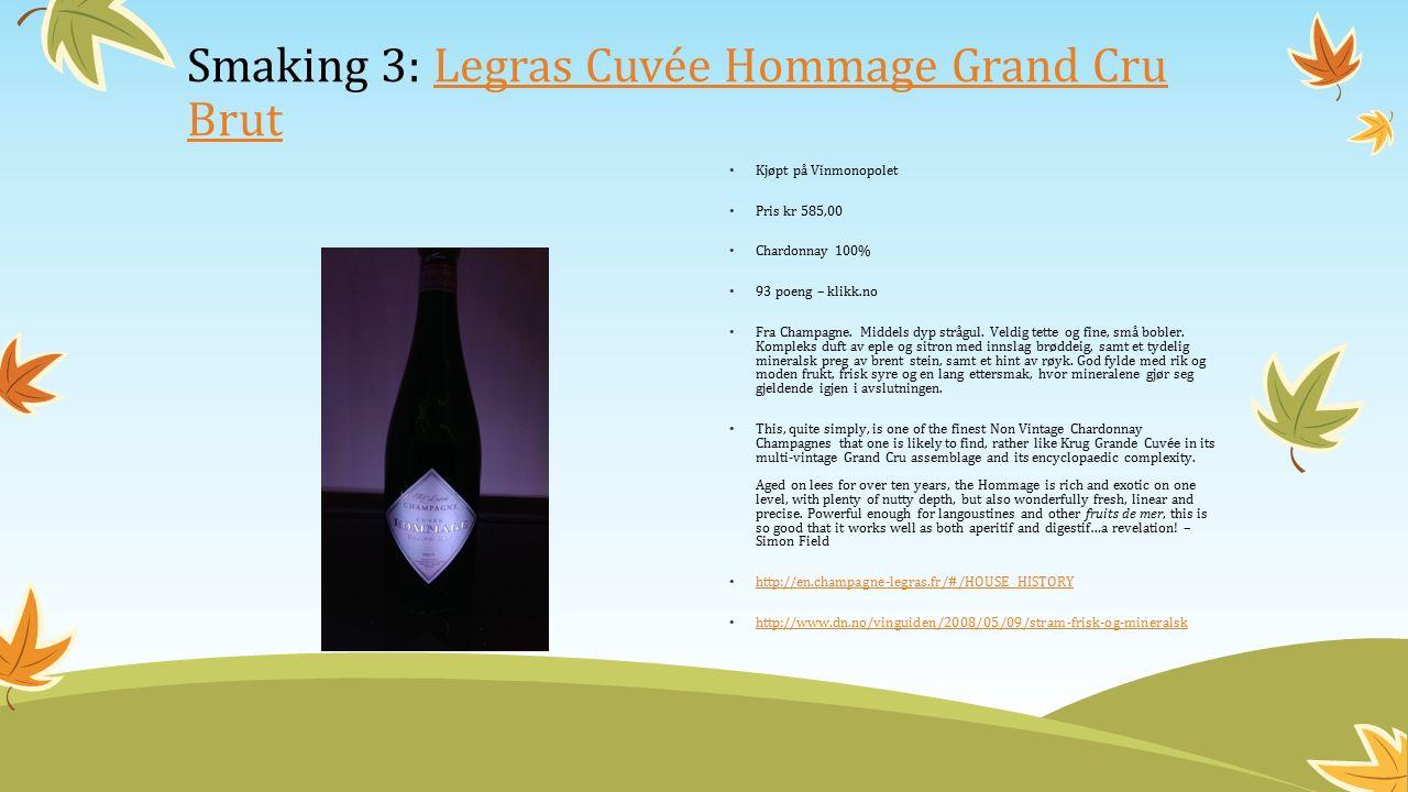 Kjøpt på Vinmonopolet Pris kr 585,00 Chardonnay 100% 93 poeng – klikk.no Fra Champagne.
