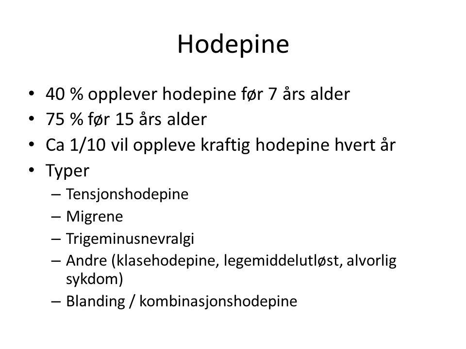 Hodepine 40 % opplever hodepine før 7 års alder 75 % før 15 års alder Ca 1/10 vil oppleve kraftig hodepine hvert år Typer – Tensjonshodepine – Migrene