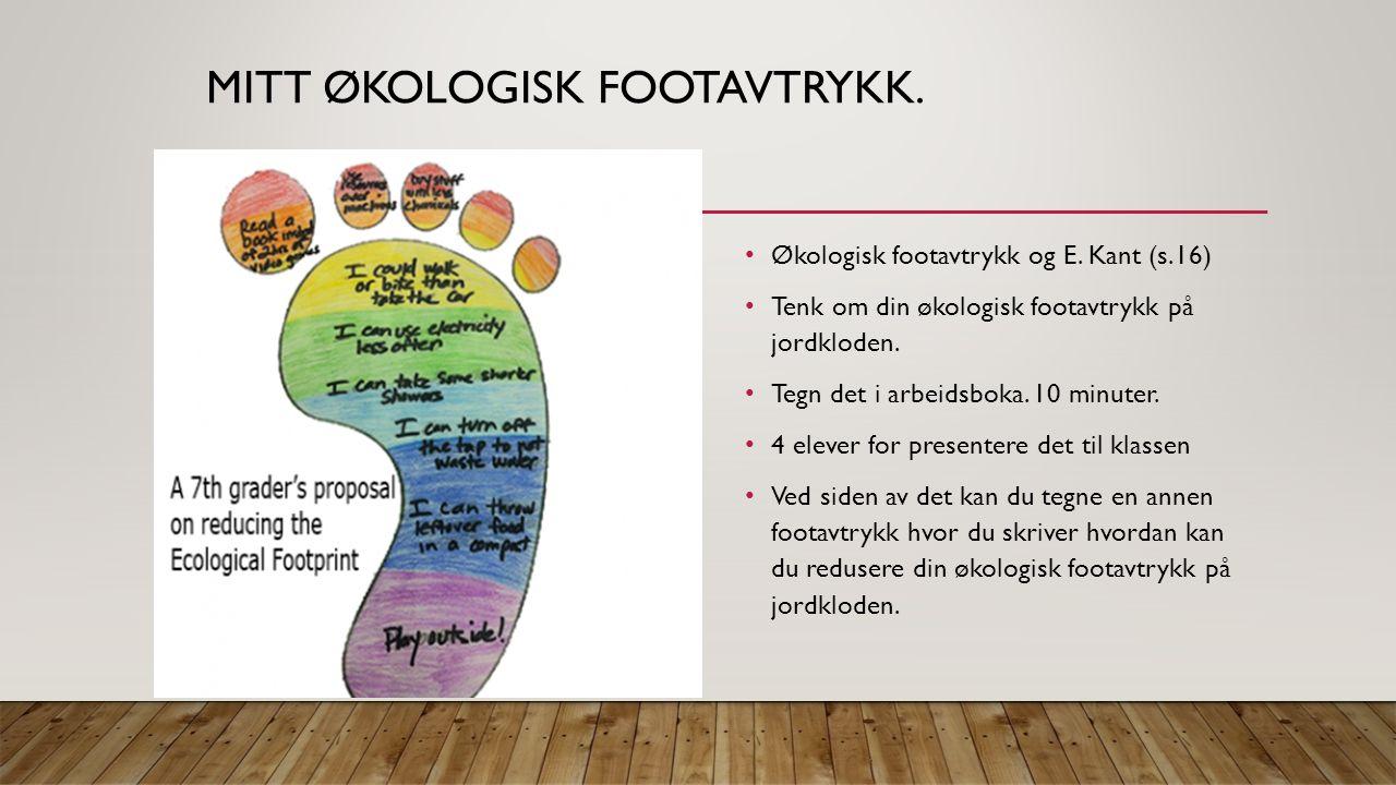 MITT ØKOLOGISK FOOTAVTRYKK. Økologisk footavtrykk og E.