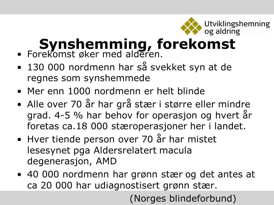 Synshemming, forekomst Forekomst øker med alderen. 130 000 nordmenn har så svekket syn at de regnes som synshemmede Mer enn 1000 nordmenn er helt blin