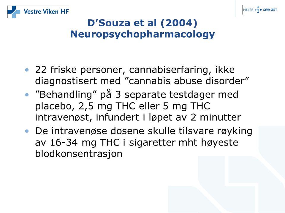 D'Souza et al (2004) Neuropsychopharmacology 22 friske personer, cannabiserfaring, ikke diagnostisert med cannabis abuse disorder Behandling på 3 separate testdager med placebo, 2,5 mg THC eller 5 mg THC intravenøst, infundert i løpet av 2 minutter De intravenøse dosene skulle tilsvare røyking av 16-34 mg THC i sigaretter mht høyeste blodkonsentrasjon