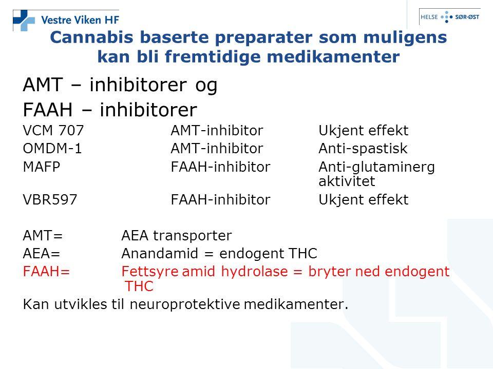Cannabis baserte preparater som muligens kan bli fremtidige medikamenter AMT – inhibitorer og FAAH – inhibitorer VCM 707AMT-inhibitor Ukjent effekt OMDM-1AMT-inhibitorAnti-spastisk MAFPFAAH-inhibitorAnti-glutaminerg aktivitet VBR597FAAH-inhibitorUkjent effekt AMT=AEA transporter AEA=Anandamid = endogent THC FAAH=Fettsyre amid hydrolase = bryter ned endogent THC Kan utvikles til neuroprotektive medikamenter.