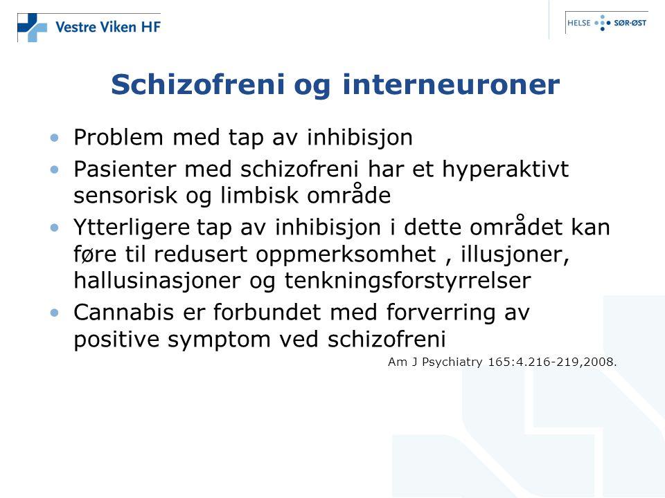 Schizofreni og interneuroner Problem med tap av inhibisjon Pasienter med schizofreni har et hyperaktivt sensorisk og limbisk område Ytterligere tap av inhibisjon i dette området kan føre til redusert oppmerksomhet, illusjoner, hallusinasjoner og tenkningsforstyrrelser Cannabis er forbundet med forverring av positive symptom ved schizofreni Am J Psychiatry 165:4.216-219,2008.