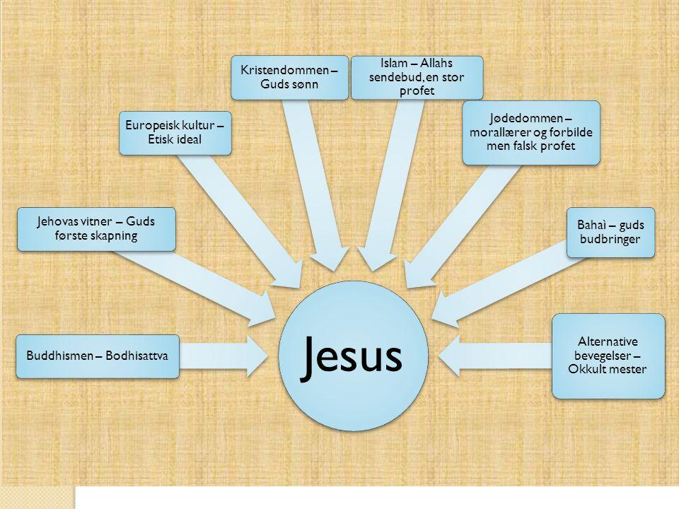 Jesus Buddhismen – Bodhisattva Jehovas vitner – Guds første skapning Europeisk kultur – Etisk ideal Kristendommen – Guds sønn Islam – Allahs sendebud,