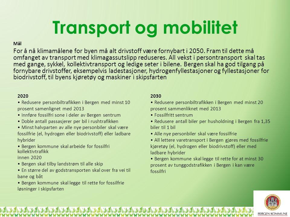 Transport og mobilitet 2020 Redusere personbiltrafikken i Bergen med minst 10 prosent samenlignet med 2013 Innføre fossilfri sone i deler av Bergen se