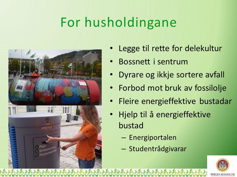 For husholdingane Legge til rette for delekultur Bossnett i sentrum Dyrare og ikkje sortere avfall Forbod mot bruk av fossilolje Fleire energieffektiv