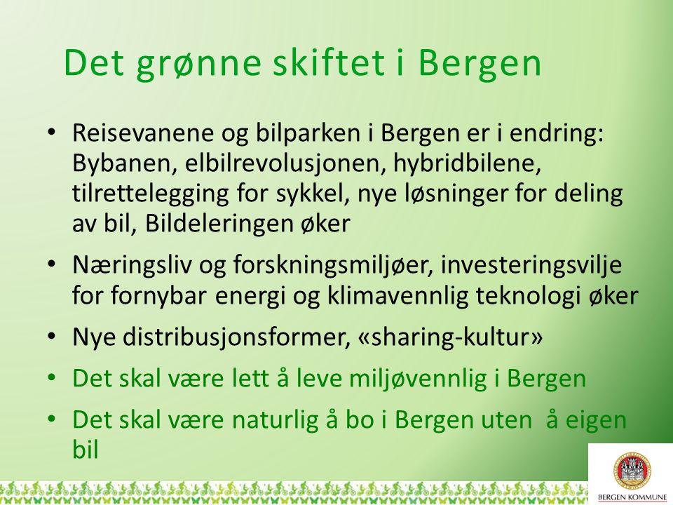 Det grønne skiftet i Bergen Reisevanene og bilparken i Bergen er i endring: Bybanen, elbilrevolusjonen, hybridbilene, tilrettelegging for sykkel, nye løsninger for deling av bil, Bildeleringen øker Næringsliv og forskningsmiljøer, investeringsvilje for fornybar energi og klimavennlig teknologi øker Nye distribusjonsformer, «sharing-kultur» Det skal være lett å leve miljøvennlig i Bergen Det skal være naturlig å bo i Bergen uten å eigen bil 5