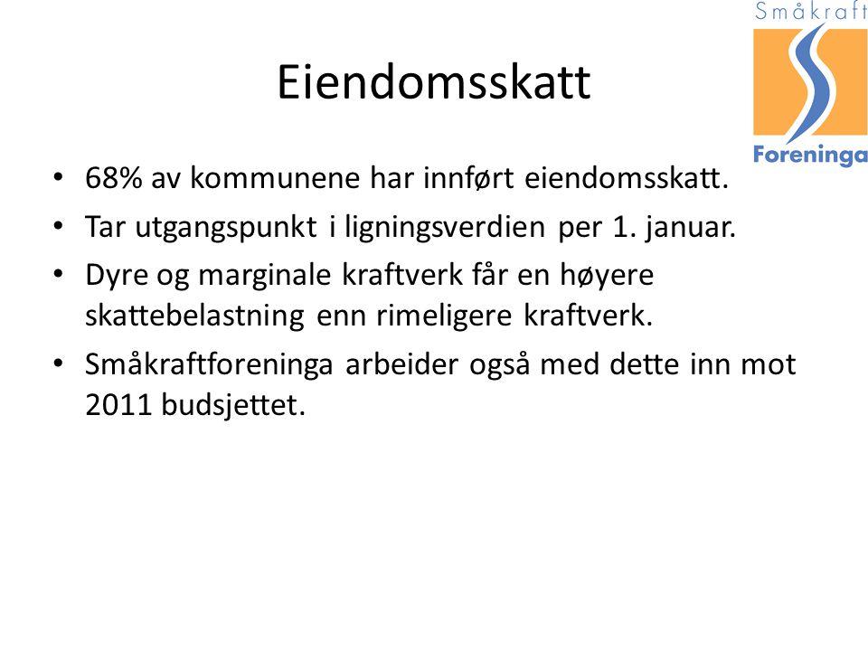 Eiendomsskatt 68% av kommunene har innført eiendomsskatt.