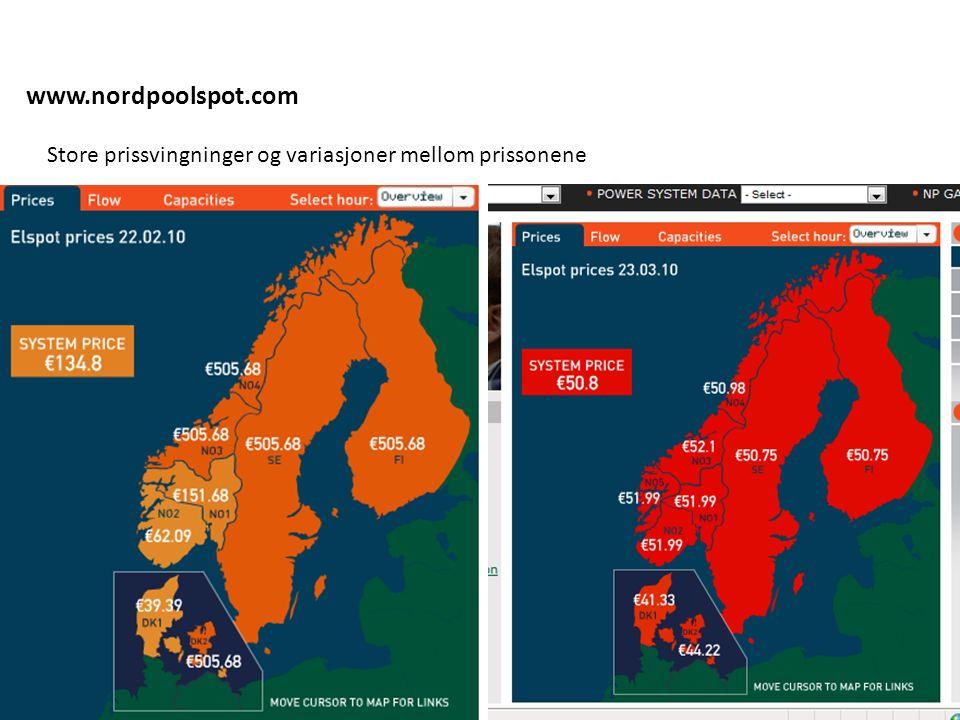 www.nordpoolspot.com Store prissvingninger og variasjoner mellom prissonene